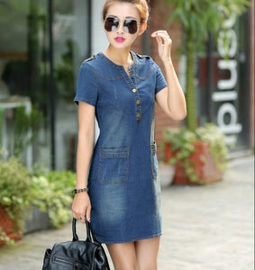 Summer 2018 Korean denim female dress with short sleeves loose large size v-neck thin  dress for women plus size 176A 45