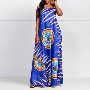 Summer Boho Sexy Travel Beach Party Blue African Ethnic Women Long Dresses 2019 Casual Strapless Stripe Print Female Maxi Dress