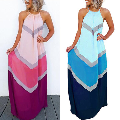 Summer Dresses Casual Fashion Elegant Dress Women's Halter Striped Color Patchwork Pleated Back Hollow Out Maxi Long Dress @122