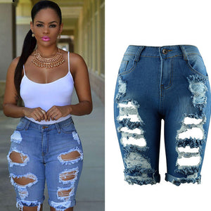 Summer Hole Ripped Jeans Women Pants Cool Denim Straight Jeans For Female Knee Length High Waist Casual Pants Female
