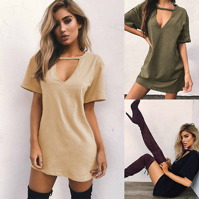 Summer Hot Women Short Sleeve  V-Neck Casual Cotton Loose Dresses Size S M L XL