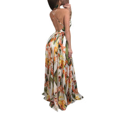 Summer Maxi Dress Women Floral Print Dress V-Neck Sleeveless Spaghetti Strap Backless Side Split Sexy Long Dress