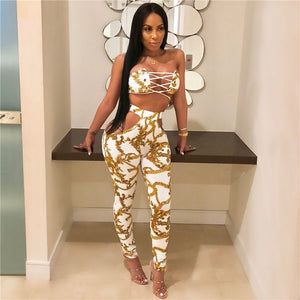 Summer Sexy Print Camouflage Lace Up 2 Pieces Women Bodycon Hollow Out Pants Causal Strapless Crop Top+Pants Set Party Club Suit