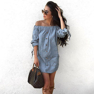 Summer  Women Off Shoulder Mini Denim Jeans Buttons Pocket Shirt Wrap Dress Size S-XL