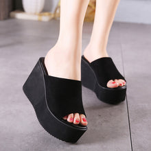Summer new Korean version of the black suede slope with high-heeled sandals crust slip non-slip slippers.