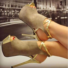 Sweet Sexy Free shipping, brown cashmere leather, gold peep toe, 14 cm high-heeled sandals, women's sandals. SIZE:34-45