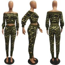 TWO PIECE SET Off Shoulder Camouflage Tracksuit Elegant Bandage Lace Up Pants Women Leisure Suit Sexy Matching Outfits Autumn PC