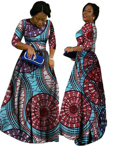 Traditional African Clothing Rushed African Dresses Sale Promotion Cotton 2017 Print Dresses, Long Women Clothing