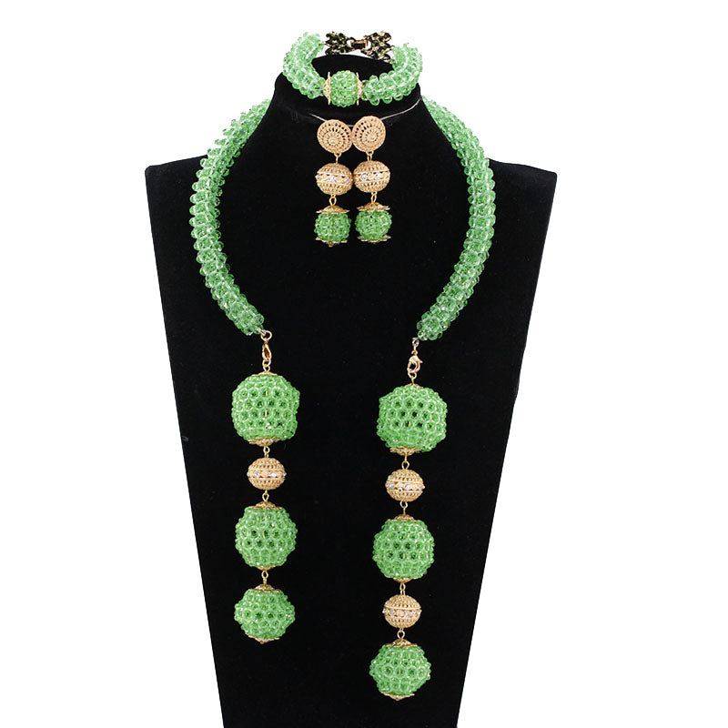 Trendy 2017 Gift Jewelry Fashion Lime Green Nigerian Wedding Party Jewelry Sets African Beads Pendant Bridal Necklace Set