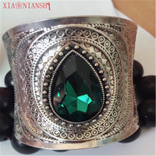 Unique Design Ethnic Jewelry Big Crystal Open Wide Arm Cuff Bangle Blue Stone Men Bracelet Statement Bangles Armband For Women