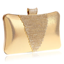 V Design Rhinestones Women Evening Bags Metal Diamonds Messenger Bags Day Clutches Purse Evening Bag