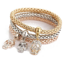 Vintage 3pcs/Set Women Rhinestone Butterfly Charm Bracelet Popcorn Chain Bangle Fine Jewelry Gifts @M23