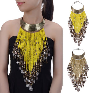 Vintage Women Jewelry Pendant Resin Tassels Statement Choker Bib Necklace Beads Long Necklace Choker 6 Colors Female Gift