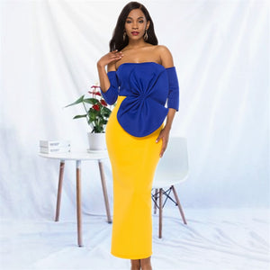 Women Maxi Party Dress Sexy Large Bowtie Blue Yellow Contrast Color Elegant Backless Celebrate Dinner Party Evening Bodycon Robes