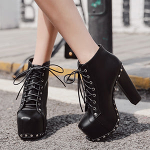WEIQIAONA Ultra High Heels boots Woman Punk Spikes Ankle Boots Rivet Bota Women lita Platform Booties Lace Up Lady Shoes