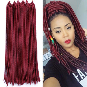 WTB Dreadlocks Crochet Faux Locs Synthetic Braiding Hair Extension Long Straight Braids Hairstyles 20 Inch