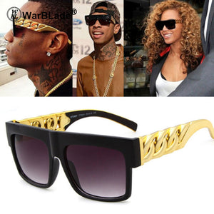 WarBLade 2018 Fashion Gold Metal Chain Kim Kardashian Beyonce Sunglasses Vintage Hip Hop Sun Glasses Gafas De Sol UV400