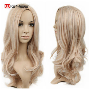 Wignee Long Hair Wavy Wigs High Density Temperature Swiss Lace Synthetic Wigs Ombre Grey/Blonde/Brown Cosplay Hair For Women