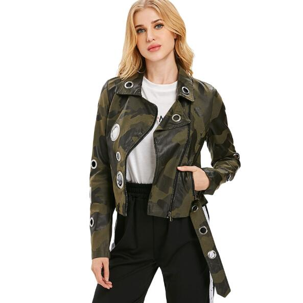 Winter Eyelet Camouflage Faux Leather jacket women Punk Metal ring Rivets Motorcycle coat Street Black women biker jacket 2018