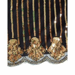 Women 1920s Vintage Art Deco Sequin Inspired Great Gatsby Flapper Cocktail Party Dress Shining Black With Gold Beaded Dresses