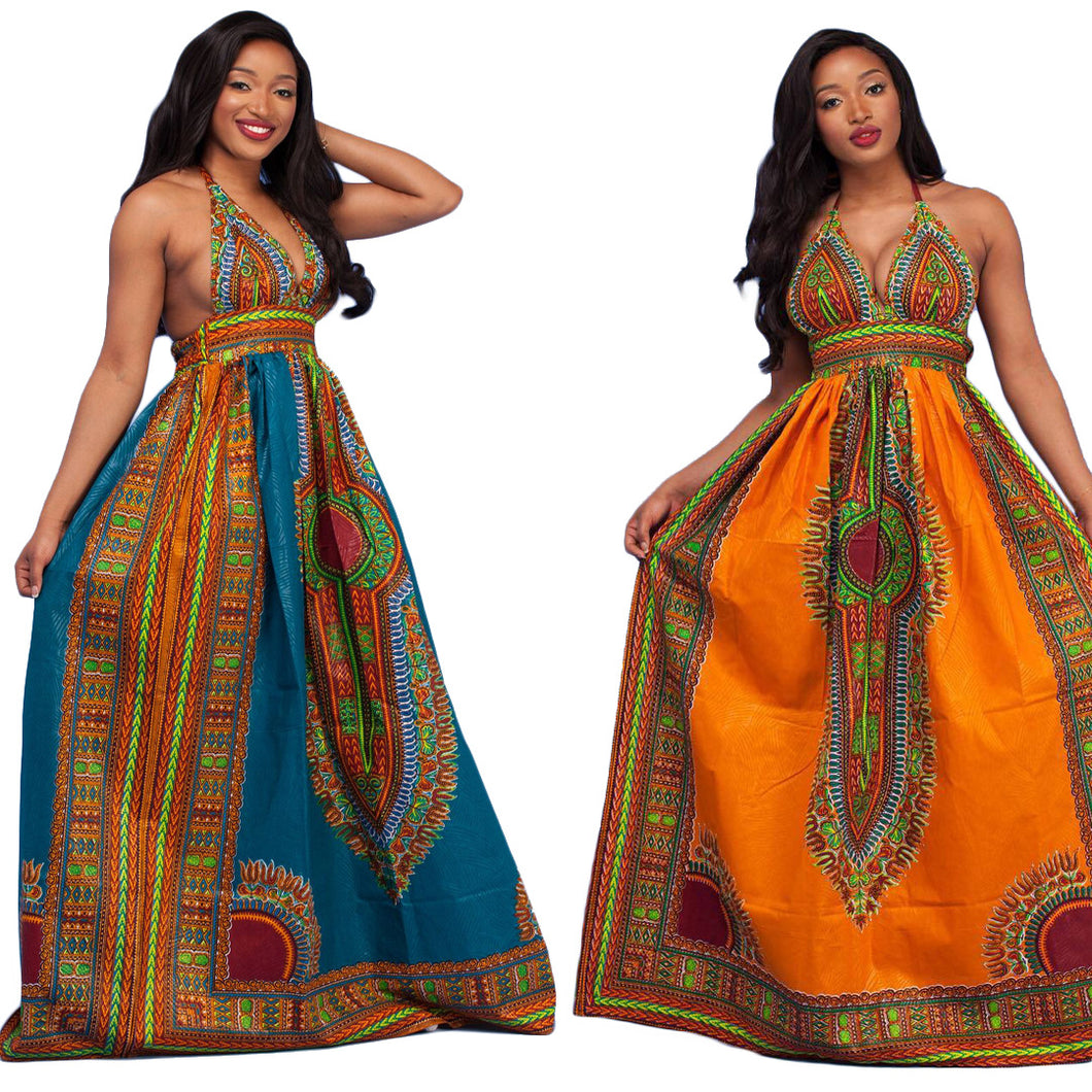 Women African Clothing Bazin Riche Dresses Real Hot Sale Polyester 2017 National Totem Printing Women Clothing Sexy Backless