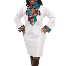 Women African Dress Custom Made Dashiki Print Clothes Wax And White Cotton Patchwork African Festive Dress Party Costume