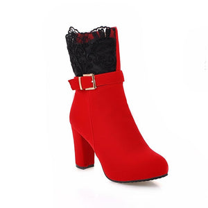 Women Ankle Boots High Heels 2018 Fashion Red Shoes Woman Platform Flock Buckle Winter Boots Ladies Shoes Female Botas