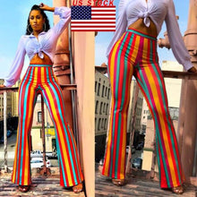 Women Boho Stripe Long Pants Palazzo Bell Bottoms Flare Trousers High Waist Stretch Vertical Stripe Long Pants