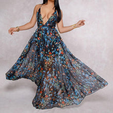 Women Dresses Summer Sexy Maxi Boho Style Print Party Dress Deep V Neck Backless Long Dress Vestidos WS6915R