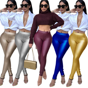Women Fashion Faux Leather Leggings Autumn Winter Skinny Long Pants Stretch Slim Casual Pleather Trousers Ladies Push Up Pants