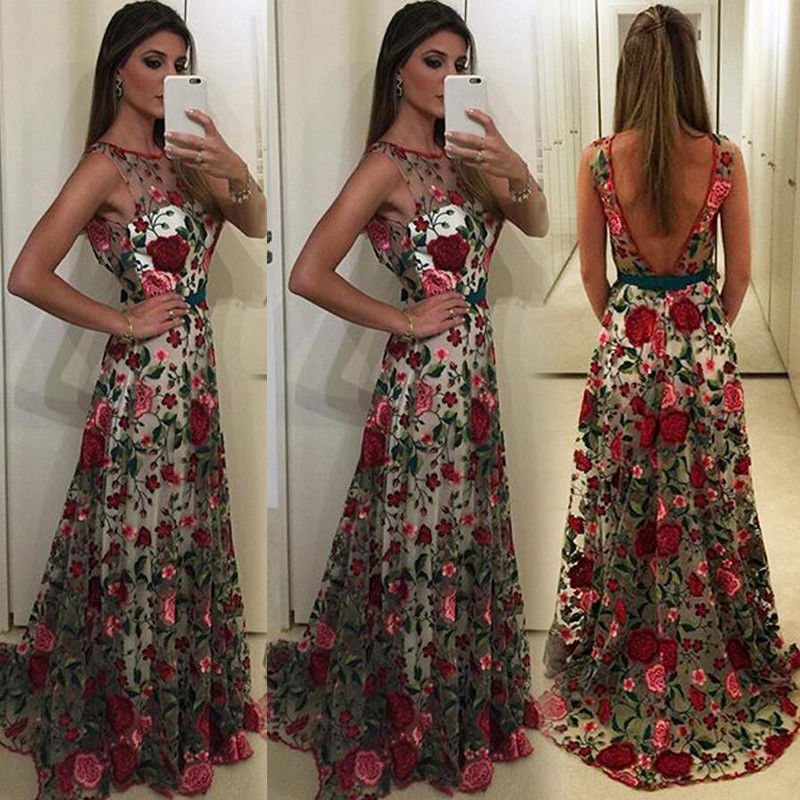 Women Ladies Long Formal Dress Cocktail Party Ball Gown Flower Lace Dress