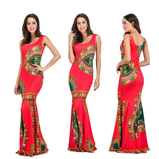 Women Polyester African Clothing Promotion Traditional The New Ladies' Printed 2017 Dress Beach Sleeveless Dresses