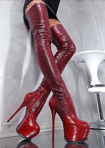 Women Python Gladiator Knee High Boots Red Wine Platform Zipper Over knee Booty HIgh Heel Slim Sexy Thigh Boots Plus Size 10