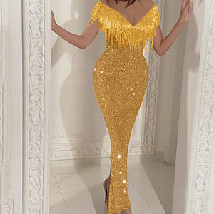 Women Sexy Sequined Bodycon long dress Solid Stitching Shining Club Sleevless Dress Slim Elegant Ladies evening Party Dress 2020