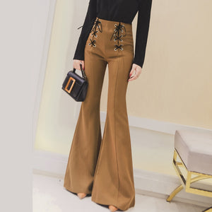Women Stretch flared trousers Spring/Autumn High waist Casual flared trousers Bell bottom pants Plus size pantalon femme