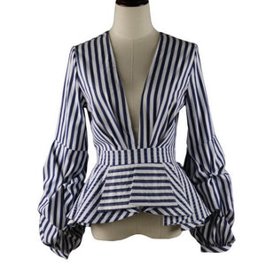 Women Stripe Fashion Ruffles Blouse Deep V Neck Sexy Office Ladies Casual Workwear Tops Clothing Blusas Vintage with Puff Sleeve