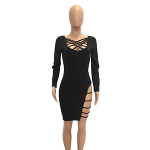 Women Summer Bandage Dresses Casual Long Sleeve Side Chest Hollow Out Bodycon Pencil Dress Sexy Clubwear Vestidos Drop Ship EY11