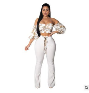 Women irregular print bandage lace up off shoulder crop top pants 2 piece set for female women two pieces sets women's suits