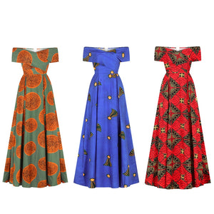 Women's Dashiki Traditional African Print Dresses Off Shoulder Short Sleeve Dress Split Sexy Elastic Ankara Gown Party Wear
