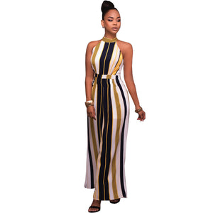 Women's Fashion Striped Cape High Waist Flared Palazzo Bell Bottom Jumpsuit