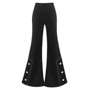 Womens High Waist Slim black Flared Bell Bottom Pants OL Work Wear Casual Pants Black Long Trousers Split ends Flared Pants