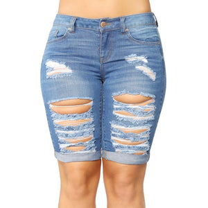 Womens New Arrival Summer 2018 High Quality Elastic Stretch Bodycon Boyfriend Ripped Hollow Out Knee Length Demin Jeans 406023