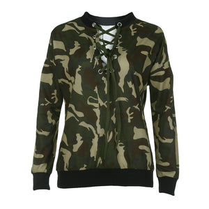 Womens Tops and Blouses Feminine Autumn 2018 Streetwear Camouflage Lace Up Long Sleeve Blouse Ladies Top Tunic Woman Clothes