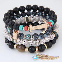 Xiacaier Beads Bracelets For Women Multilayer Beaded Chain Vikings Anchor Charm Bracelets & Bangles Bohemia Vintage Jewelry 2017