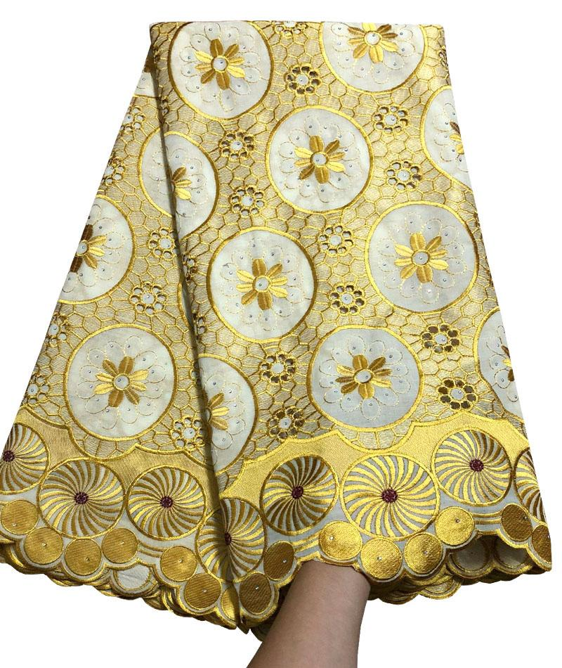 Yellow High Quality For Women And Men Cotton Dry Lace Fabric Swiss Voile With Stone Swiss Voile Lace In Switzerland NA8-1