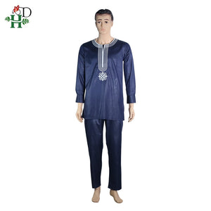 africa men dashiki bazin riche suits tops shirt pant 3 pieces set embroidery navy blue black white african mens clothing robe