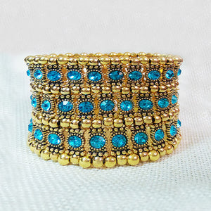 antique gold strech bangles Openable multylater big Exaggeration Elastic bracelet wedding Party Cuff jewelry bohemia boho design