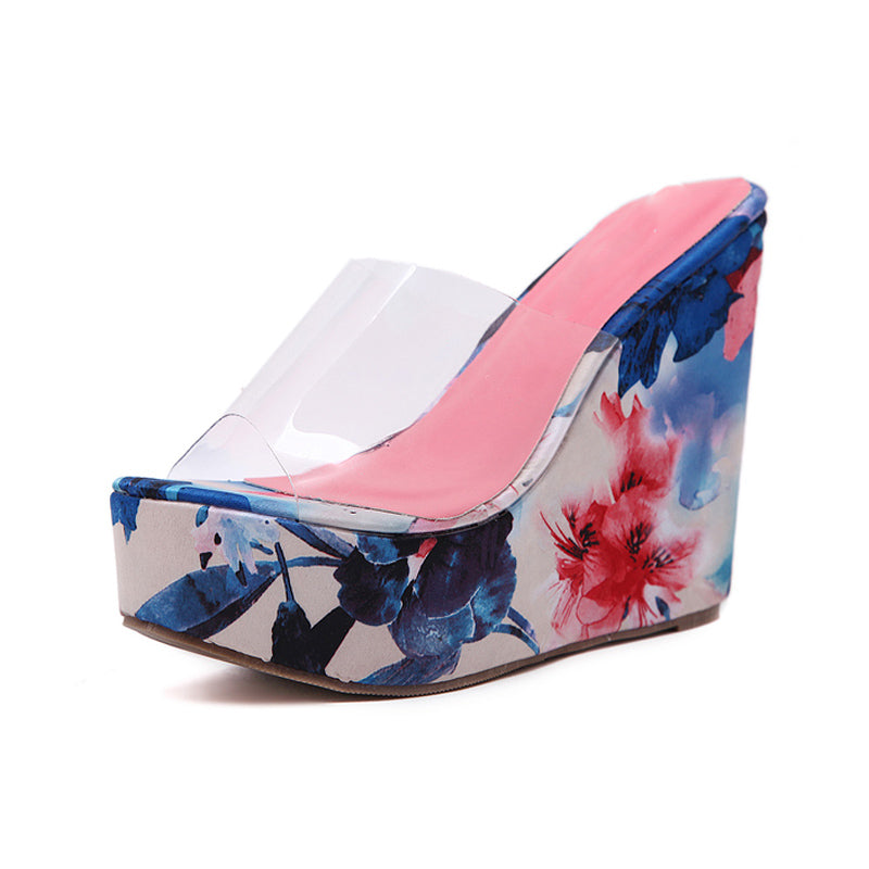2358e3143b5 ... beach slippers women flip flops Wedge Slippers PVC Clear Transparent  Shoes Woman Platform heels Wedges Crystal ...