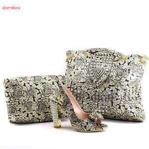 doershow New Design Italian Shoes With Matching Bag Set Fashion Italy Shoes And Bag To Match African Women Shoes For party QV1-1