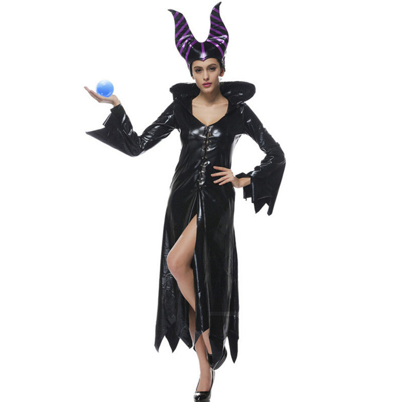 ... high quality Plus Size Halloween Women Black Sleeping Beauty Witch  Queen Maleficent Costumes Carnival Party Cosplay f6ceed1f8